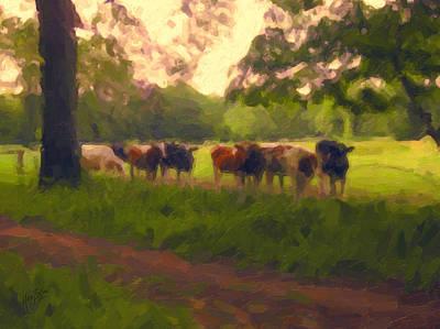 Briex Digital Art - Cows In Tilburg by Nop Briex