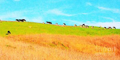Cows On A Hill . 40d3430 . Painterly . Long Cut Art Print