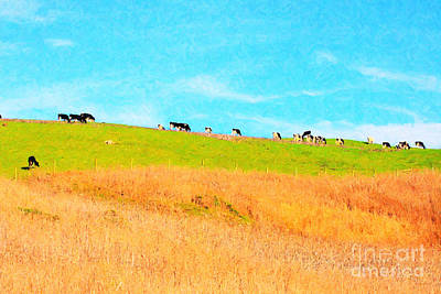 Backroad Digital Art - Cows On A Hill . 40d3430 . Painterly by Wingsdomain Art and Photography