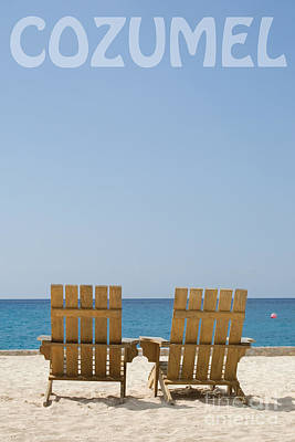Photograph - Cozumel Mexico Poster Design Beach Chairs And Blue Skies by Shawn O'Brien