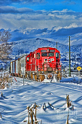 Gaugin Rights Managed Images - CP Rail Train in Winter HDR Royalty-Free Image by Randy Harris