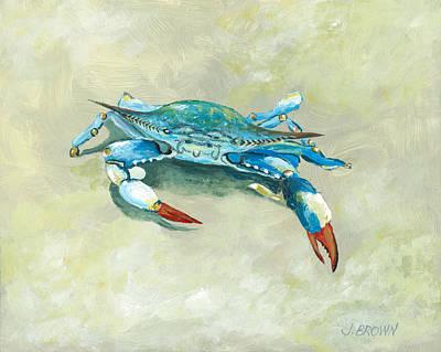 Crab On Beach Art Print by John Brown