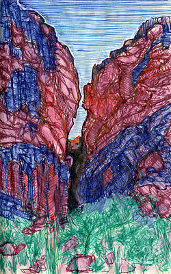 Grand Canyon Drawing - Crack In The Earth by Scott Barnes