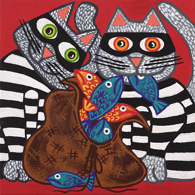 Moggy Painting - Cracked Cat Burglars by Lisa Frances Judd