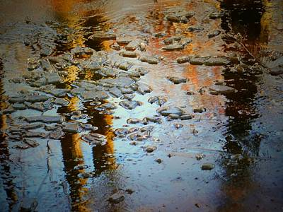 Photograph - Cracked Icy Reflections by Beth Akerman