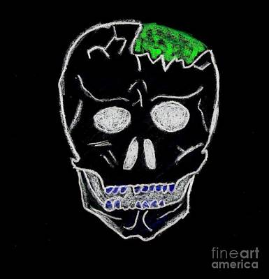 Cracked Skull Black Background Art Print by Jeannie Atwater Jordan Allen