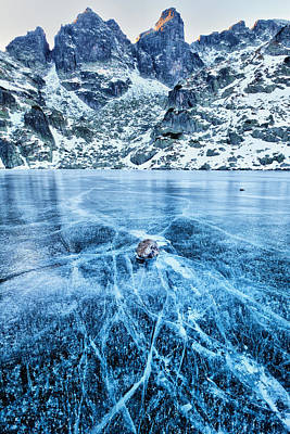 Cracks In The Ice Print by Evgeni Dinev
