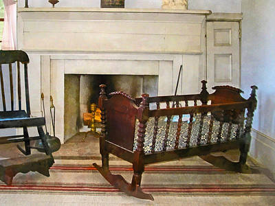 Stepstools Photograph - Cradle Near Fireplace by Susan Savad