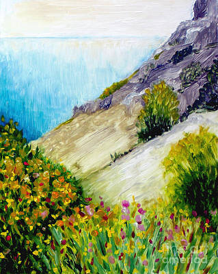 Contemporain Art Painting - Crags And Wildflowers Of Monaco by Hilary England