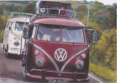 Iconic Car Drawing - Cranberry by Sharon Poulton