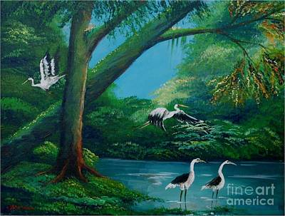 Cranes On The Swamp Art Print