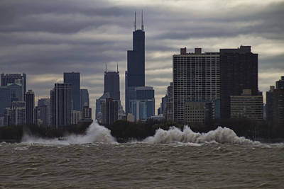 Crashing Surf In Stormy Chicago Art Print