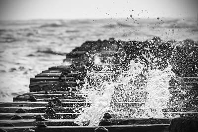 Manatee Co Photograph - Crashing Up - Bw by Nicholas Evans