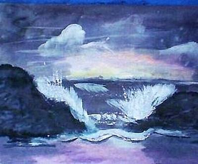 Painting - Crashing Waves Stormy Seas Dark by Anna Lewis