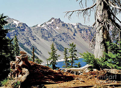 Crater Lake Through Nature Art Print by Mike Stone
