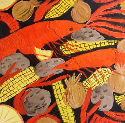 Boiled Crawfish Painting - Crawfish Boil by Mary Crochet