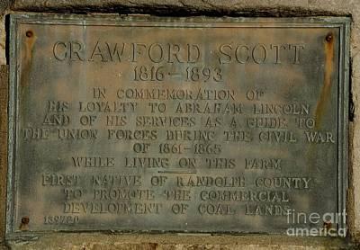 Crawford Scott Historical Marker Print by Randy Bodkins