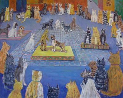 Crazy Cats Dog Show Original by Bonnie Wilber