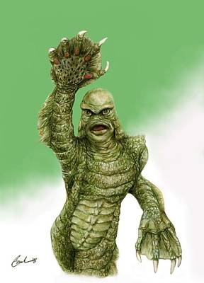 Creature From The Black Lagoon Art Print by Bruce Lennon