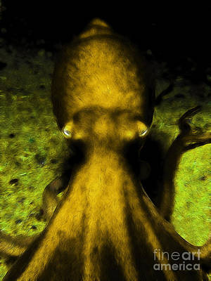 Creatures Of The Deep - The Octopus - V4 - Gold Art Print by Wingsdomain Art and Photography