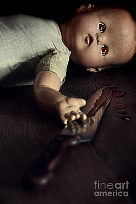 Photograph - Creepy Doll With Bloody Knife  by Sandra Cunningham