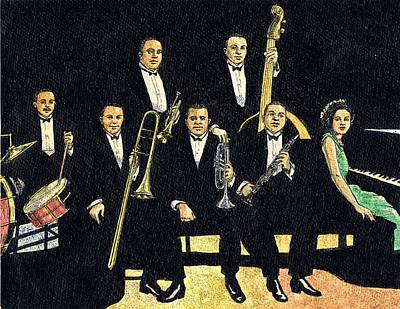 Trombone Drawing - Creole Jazz Band by Mel Thompson