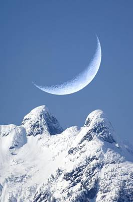 Crescent Moon Over The Lions, Canada Art Print by David Nunuk
