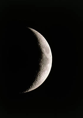 Crescent Moon Showing Mare Serenitatis Print by John Sanford