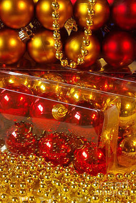 Colorful Beads Photograph - Crhistmas Decorations by Carlos Caetano