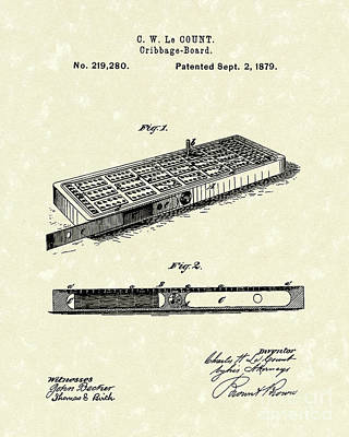 Drawing - Cribbage Board 1879 Patent Art by Prior Art Design