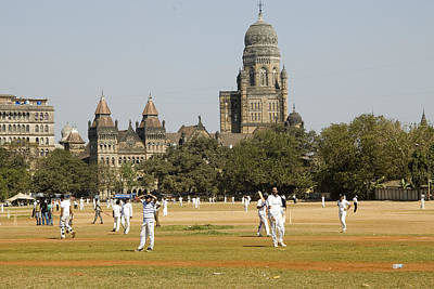 Cricket Field Photograph - Cricket Match At Azad Maidans In Fort by Hira Punjabi