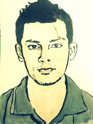 Painting - Cricket Player-raza Hasan by Poornima M