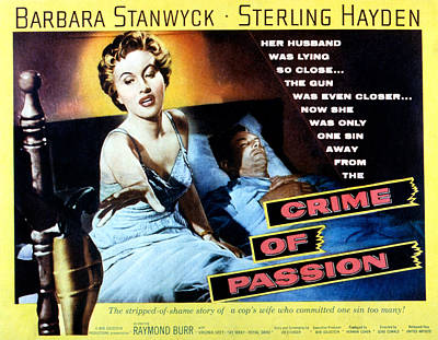 Sterling Photograph - Crime Of Passion, Barbara Stanwyck by Everett