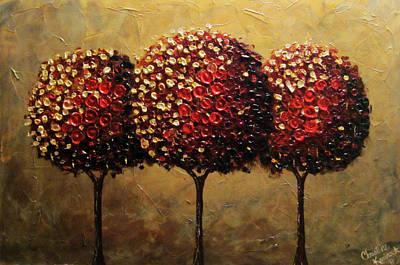 Crimson Companions Art Print by Christine Krainock