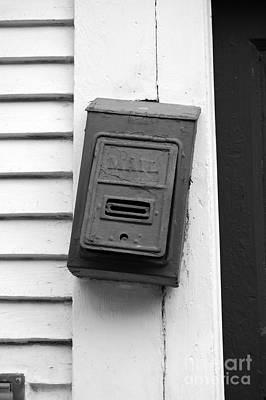 Crooked Old Fashioned Metal Green Mailbox French Quarter New Orleans Black And White Art Print by Shawn O'Brien