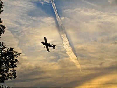 Photograph - Crop Duster Under The Jet Trail by Debbie Portwood