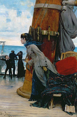 Railing Painting - Cross Atlantic Voyage by Henry Bacon