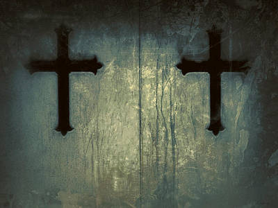 Photograph - Cross Duet On Door by Tony Grider