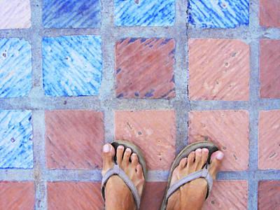 Cross-legged On A Colorful Sidewalk Art Print by Anne Mott