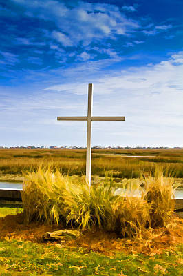 Photograph - Cross On The Inlet - Faux Painting by Bill Barber