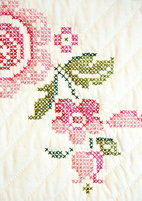 Hand Quilted Photograph - Cross Stitch Flower 1 by Marilyn Hunt
