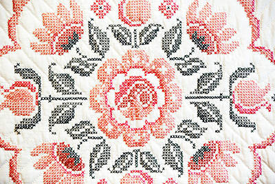 Hand Quilted Photograph - Cross Stitch Roses by Marilyn Hunt