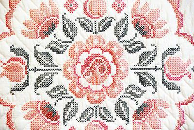 Cross Stitch Roses Art Print by Marilyn Hunt