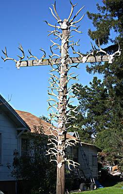 Cross With Horns Art Print by Elizabeth Alamillo