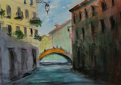 Crossing The Canal Art Print