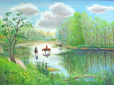Painting - Crossing The Neshaminy by Oz Freedgood