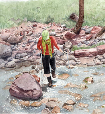 Crossing Virgin Stream Art Print by Inger Hutton