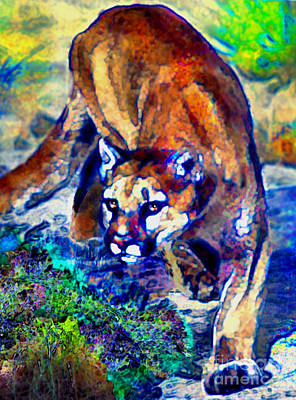 Crouching Cougar Art Print by Elinor Mavor