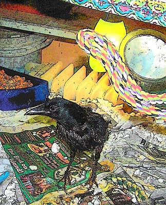 Mixed Media - Crow In Rehab by YoMamaBird Rhonda