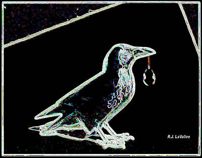 Crow With Crystal 3 Art Print